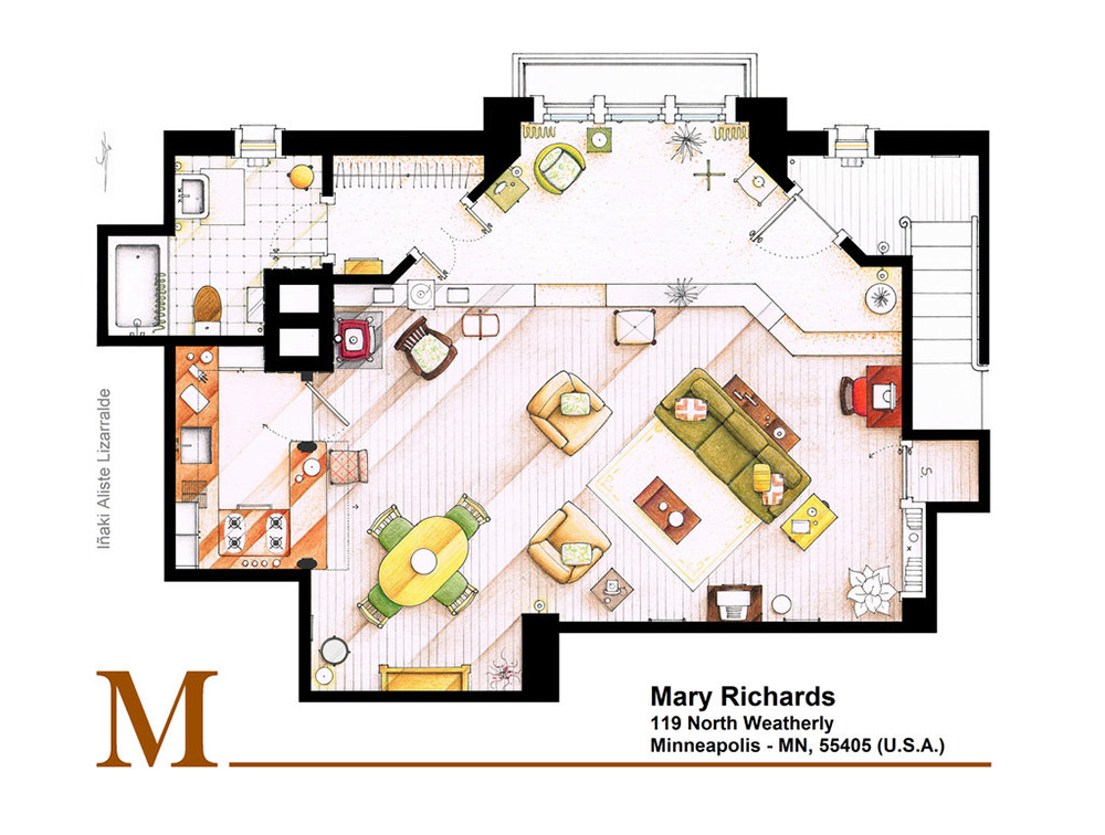 An Artist Recreated The Floor Plans For These 9 Tv Homes