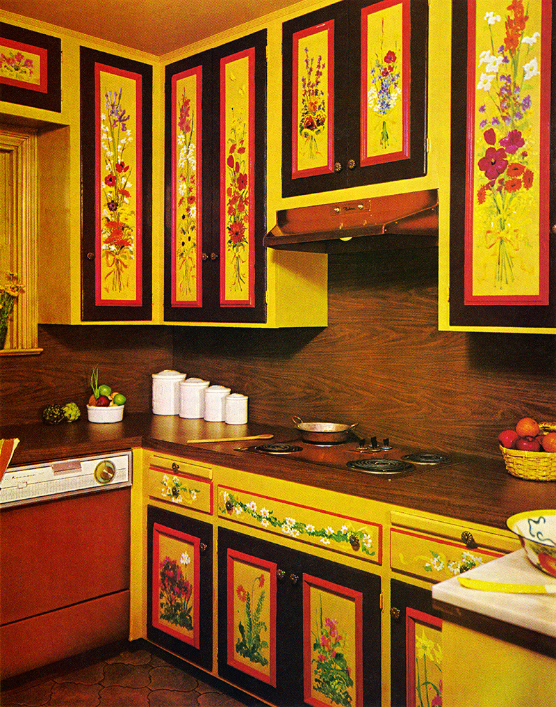 These zany interior design pictures prove that no decade for 70s style kitchen cabinets