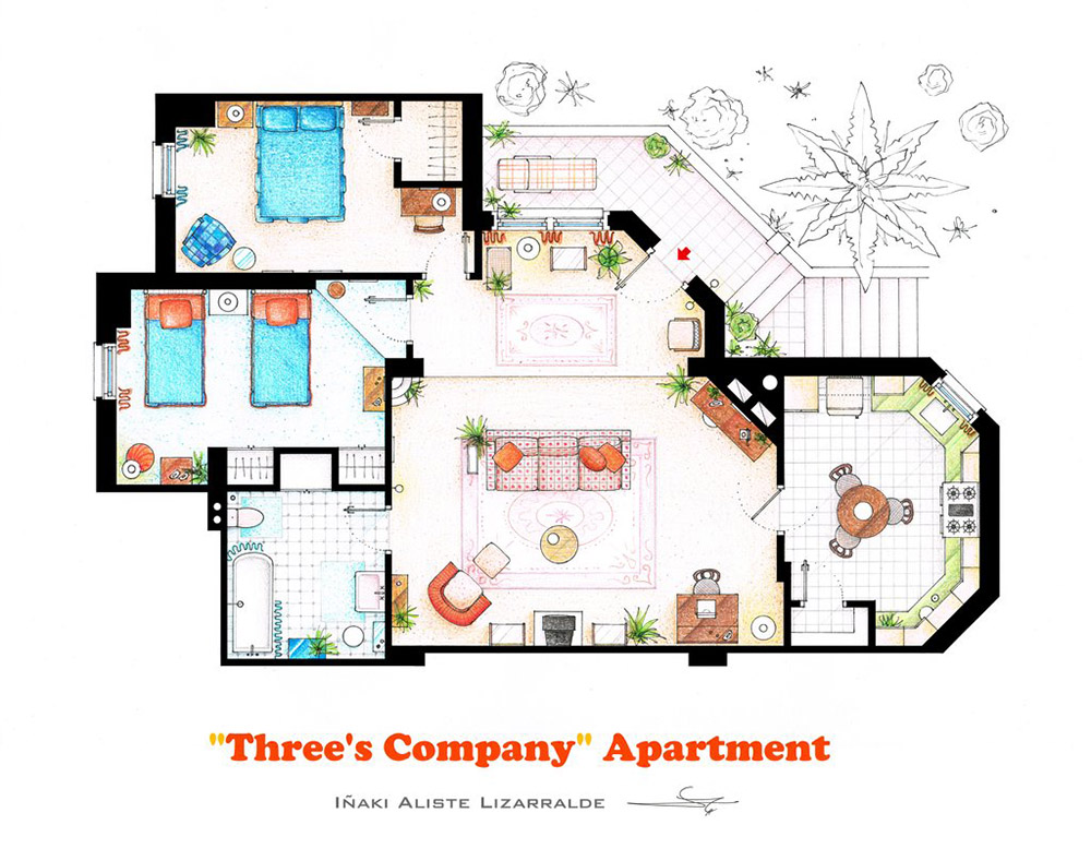 An artist recreated the floor plans for these 9 tv homes for House plan set